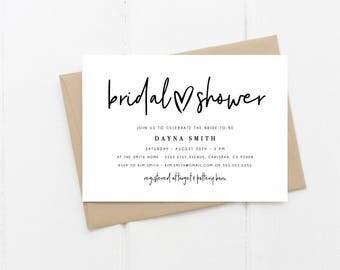 Bridal Shower Invitation, Simple, Modern, Heart, Printable Invitation  (2030)