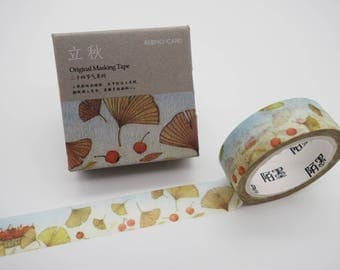 Ginkgo leaf washi tape, Autumn leaves washi, Fall washi tape, botanical washi tape, ginkgo leaves, cute planner tape, masking tape, kawaii