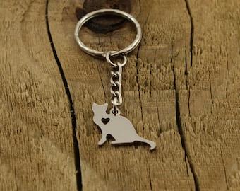 Cat keychain, cat keyring, silver cat keyring, friendship gift, silver cat keychain, cat lover gift, silver pendant keyring, cat charm, gift