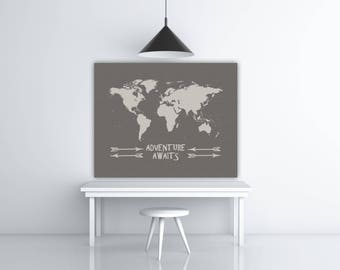 Printable World Map, World Travel Decor, Adventure Quote, World Map Poster, Travel Printable Artwork, Silver Print, INSTANT DOWNLOAD