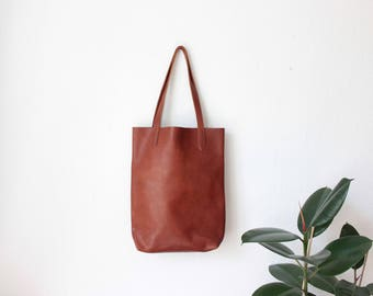 camel brown vegetable tanned leather tote bag, leather tote, leather bag, boho, vegtan, cognac