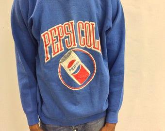 RARE Vintage Blue Pepsi Cola Pullover Sweatshirt