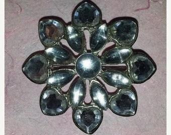 Vintage Rhinestone Flower Brooch, Rhinestone Pin, Floral Rhinestone Brooch, Wedding Bouquet