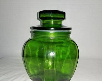 Vintage Green Apothecary Jar,Green Glass Canister,Green Apothecary Jar, Green Glass Jar,Glass Canister,Apothecary Jar,Kitchen Storage,1970s