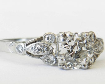 art deco engagement ring 1920s 075 carat old european cut diamond engagement ring diamond ring platinum - Art Deco Wedding Rings