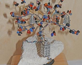 Gem Tree - Doctor Who vs the Daleks - Carnelian Agate, Lapis, Onyx on Brain Coral