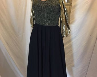 Vintage 70s Toni Todd Black and Gold Metallic Cocktail Dress Gold Lame Puff Sleeves