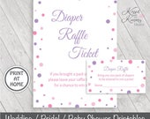 70% OFF - Diaper Raffle Ticket Inserts - Baby Shower Games - Diaper Raffle Sign - Table Sign - Purple - Printable 5x7 - Pinks Lavender P-17