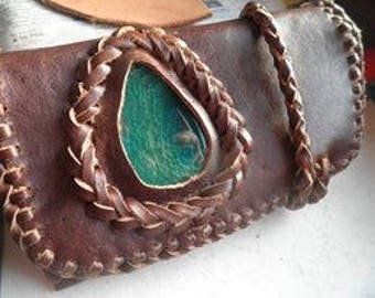 Tobacco Pouch with green agate