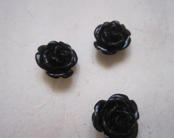 Pink black resin 13 mm - sold by 2