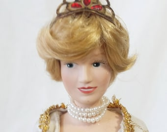 Porcelain Princess Diana Doll 14 Inch ~ Princess of Wales ~ Comes with Stand