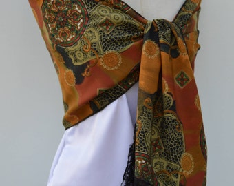 Black Lace scarf, scarf multicolor Brown, Brown printed scarf, scarf soft scarf man city