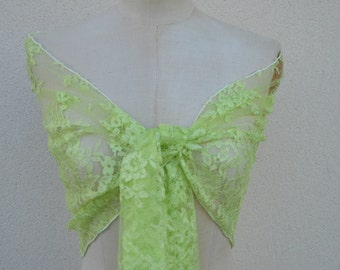 Lace scarf green, neon green lace scarf, lace woman, bride, elegant shawl stole scarf neon green, green wedding shawl