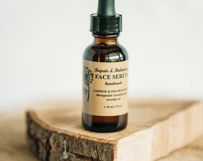 FACE SERUM with Jasmine and Frankincense essential oils, ORGANIC, Rosehip oil, Face Oil , 1oz Glass Bottle, Vegan