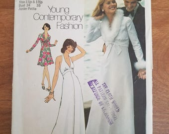 1970s Simplicity 6658 Vintage Sewing Pattern Junior Petite Halter Dress in two lengths, cropped jacket Size 11jp & 13jp Bust 34-35 UNCUT