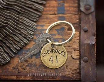 Vintage Chevrolet Key Chain | Chevy GM Hand Stamped Key Ring Gifts for Dad Grandpa Father's Day Anniversary Tool Check Brass Tag