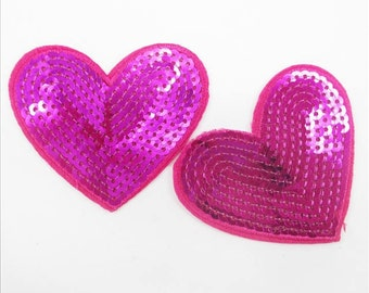 1 Piece -  Hot Pink Heart Embroidery Patch with Sequins iron on with glue - Approx. 3 inches for Hair bow Center