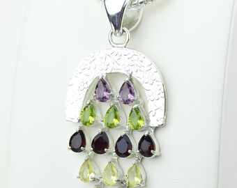 All in One! Garnet Blue Topaz Peridot Citrine 925 S0LID Sterling Silver Pendant + 4MM Snake Chain p4193