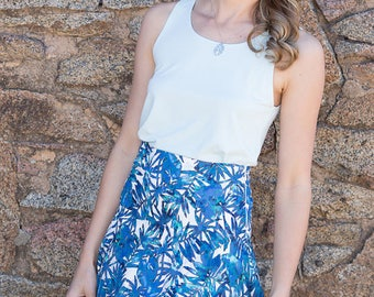 SALE 100% Cotton Ladies Summer Palm Print Skirt, Comfortable Yoke, Cool for Summer, Limited Edition and Australian Made