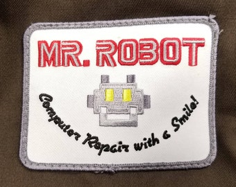 Mr. Robot Computer Repair With A Smile Patch Edward Alderson Halloween Costume TV Show F Society FSociety Iron On Embroidery Gift Idea