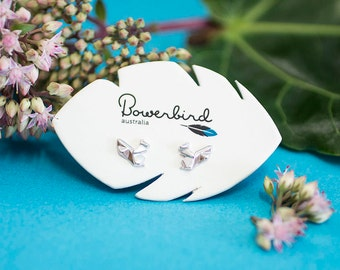 Squirrel Origami Rhodium Enhanced Sterling Silver Stud Earrings