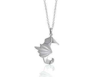 Seahorse Origami Sterling Silver Long Necklace