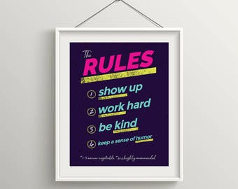 Printable: The Rules - print wall decoration - hand lettered typographic print