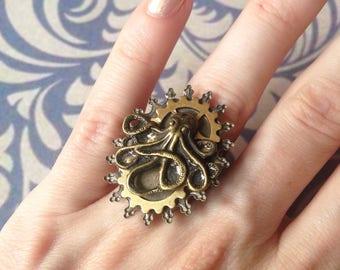Ring adjustable antique Octopus
