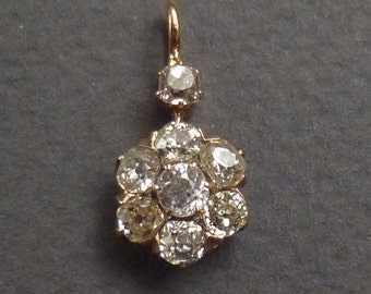 14K Diamond Pendant .80pt 7 diamonds