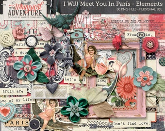 Paris digital download scrapbooking elements, French digital scrapbook embellishments, clip art, vintage ephemera, romantic, love, travel
