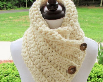 Ivory Chunky Cowl, Boston Harbor Scarf, Crochet Scarf, Handmade, Button Cowl, Wool Blend, Neck Warmer, Winter Accessory, Women's Gift, Bulky