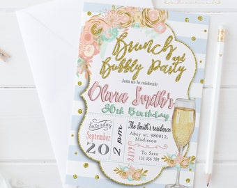 Brunch and Bubbly Invitation / Digital Printable Birthday Invite for Adults / DIY Party