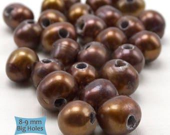 Big Hole Genuine Freshwater Pearl Potato Beads--10 pcs. | 36-P089-LB-10