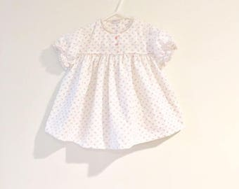 Vintage Baby Girl Tiny Floral Print Dress / Size 9 Months Pink and White Lace Toddler Sundress
