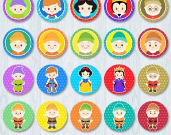 Snow White Cupcake Toppers, Snow White Cupcake Wrappers, Snow White Party, Snow white party decorations