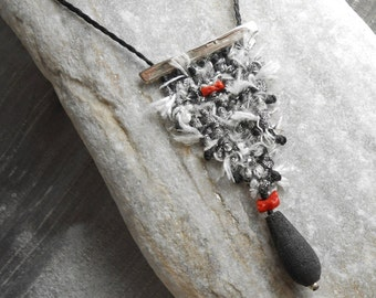 Hand woven Silk Necklace - mini tapestry with Silver, red Coral & Lava - loom woven triangle - black white red - textile jewelry - fiber art