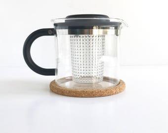 Vintage Bodum Tea Pot, Vintage Modern Bodum Tea Infuser with Cork Trivet