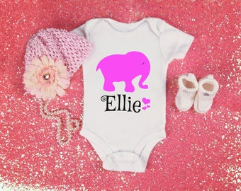 Personalized Pink Elephant Name Top for Newborn Infant Baby or Toddlers Comes in Bodysuit or T Shirt Adorable Character Baby Shower Gift