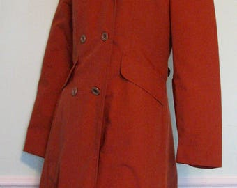 1970s Trench Princess Coat Plaid Rust 1970s Fall