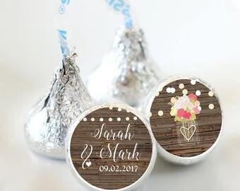 108 Fall Wedding Hershey Kiss Stickers  - Bridal Shower Kiss Labels - Country Mason Jar Kiss Labels - Bridal Shower Decor - Fall Wedding