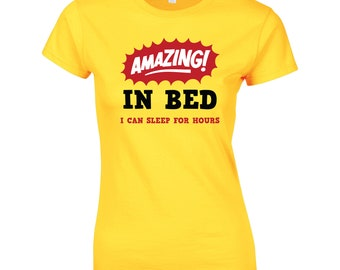Amazing In Bed Ladies Funny T-Shirt Fitness Gym Training MMA Birthday Gift Women Top
