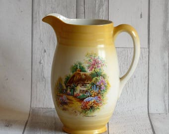 Pretty Art Deco Newhall Staffordshire Pottery English Cottage Homestead Jug / Pitcher