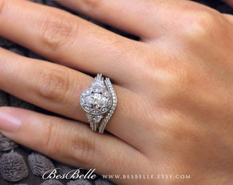 251 Cttw Vintage Art Deco Bridal Set Ring Oval Cut Diamond Simulant