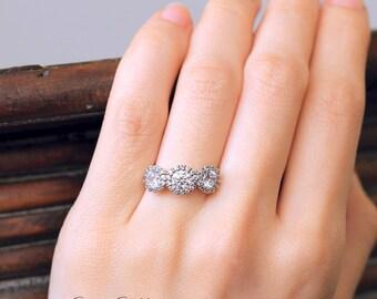 1.80 ct.tw Three Stones Halo Engagement Ring-Brilliant Cut Diamond Simulant-Bridal Ring-Anniversary Ring-Wedding Ring-Sterling Silver [3513]