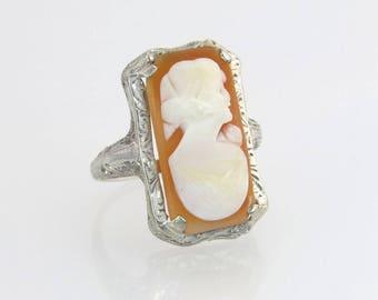 Vintage Estate 14k White Gold Hand Carved Orange & White Cameo Art Deco Ring