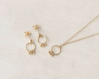 Gold Dream Catcher Necklace Earrings - Tiny Circle Earrings - Minimalist Jewelry Set - Set of Gold Necklace Earrings - Dream Catcher Jewelry