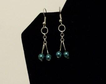 Small green hanging  bead earrings