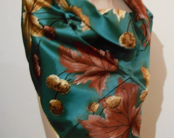 Vintage St Michael Autumn leaf print ladies scarf
