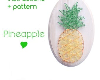 String art Pattern + Instructions - Pineapple String art - kitchen sign - diy kit - String art - Pineapple decor - DIY String Art