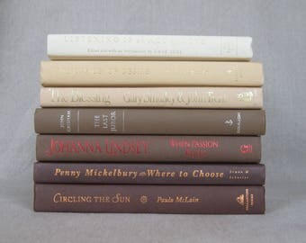Coffee Colored Book Bundle, Decorative Book Set in Brown and Cream
